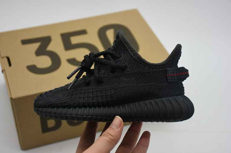 (WU$110) ADIDAS YEEZY BOOST 350 V2 TRIPLE BLACK STATIC NON-REFLECTIVE INFANT