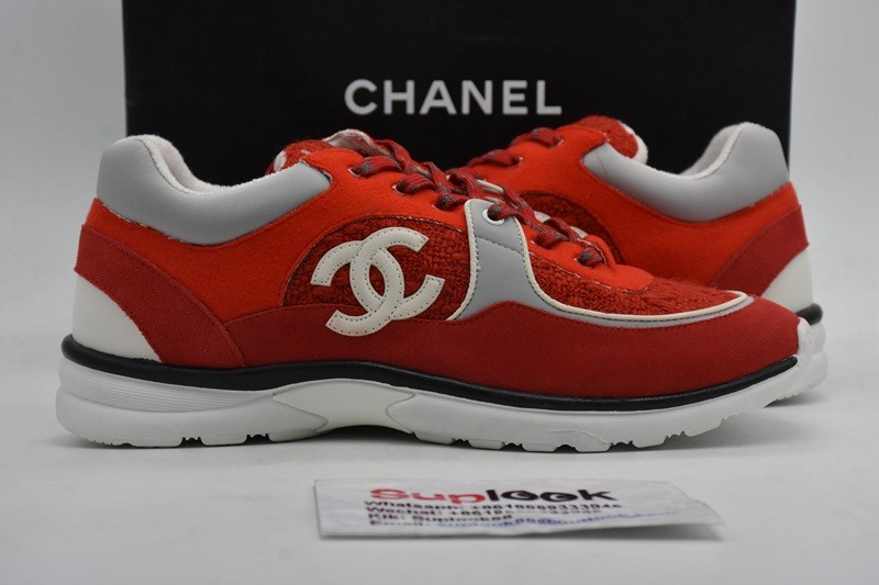 Chane-l CC low-top red braided sneaker