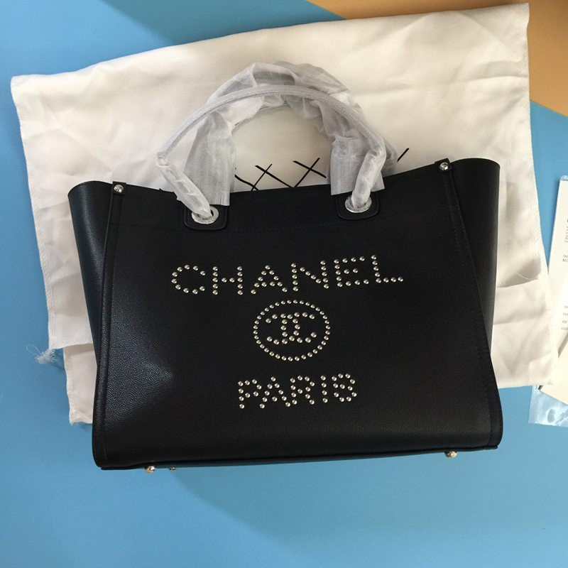 C-h-a-n-e-l Deauville Tote Studded Small Black