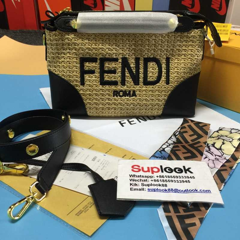 f-end-i BY THE WAY MINI Woven straw small Boston bag