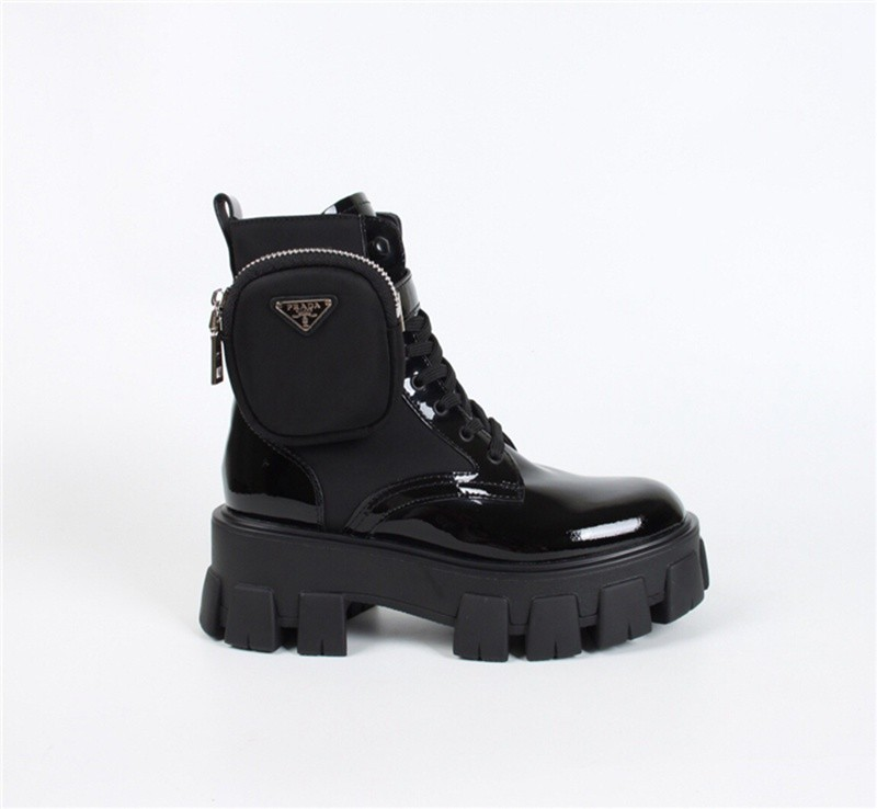 p-rada Monolith leather and nylon army boots