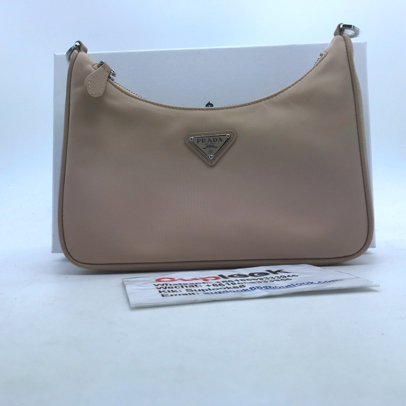 Prad-a Re-Edition 2005 Shoulder Bag Nylon Cameo Beige in NylonSaffiano Leather with Silver-tone