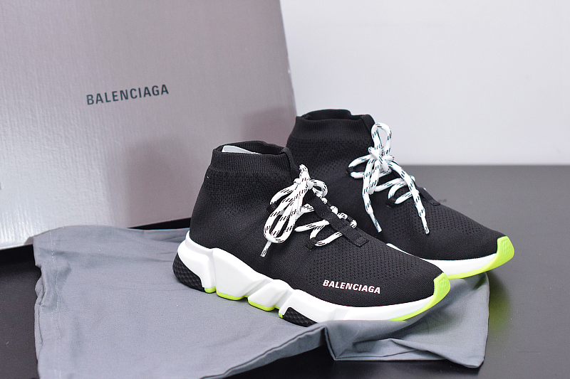 B-alenciag-a Speed Trainer Lace up Knit Sock