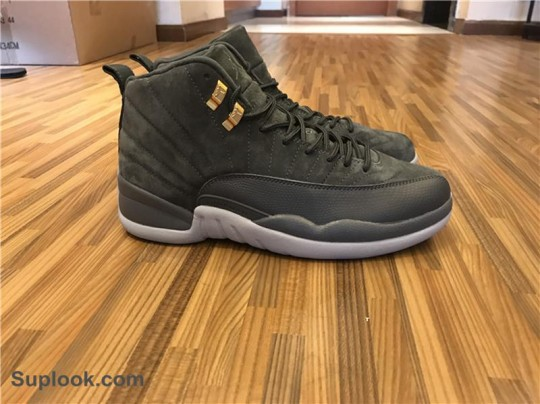 Authentic Air Jordan 12 Dark Grey Suede Nike FREE SHIPPING WORLDWIDE