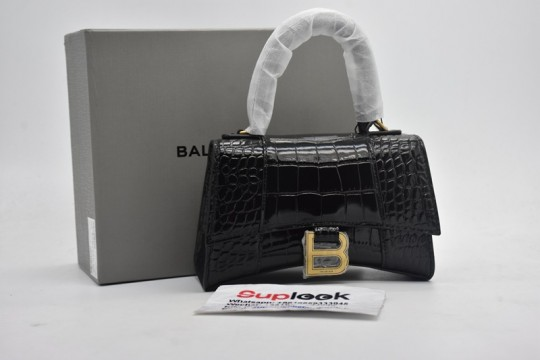 Balenciag-a Crocodile Embossed Hourglass Top Handle XS Black in Calfskin Leather with Gold-tone