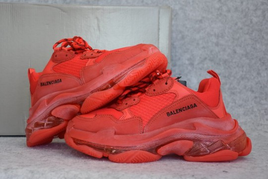 (WU$160) Balenciaga Triple S Clear Sole Red