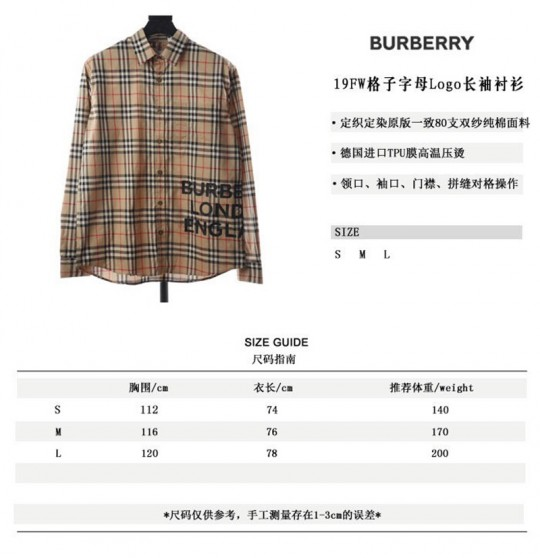 BURBERR.Y 19FW plaid Logo long-sleeve shirt
