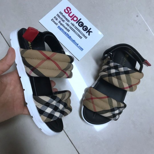 B-URBERR-Y Vintage Check Cotton and Leather Quilted Sandals