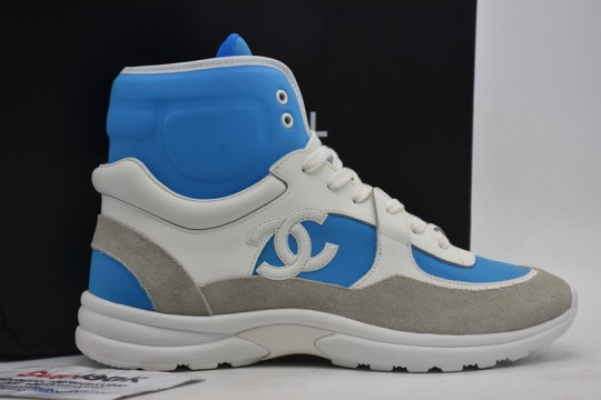 Chane-l Blue CC Logo High Top Sneaker