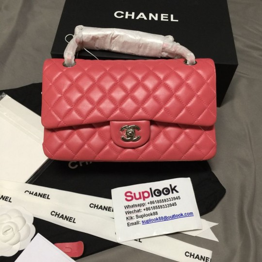C-hane-l Classic Double Flap Quilted Jumbo Pink