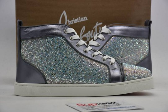 C-hristia-n L-oubouti-n High Top Sneaker Silver Diamond