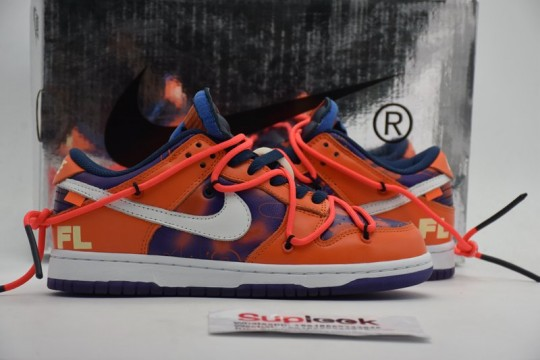 CT0856 801 O-F-F WHITE x Nike Dunk Low x FL Orange Navy Blue White 2021