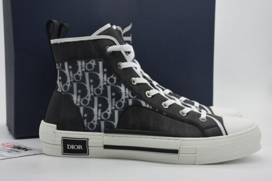 Dio-r B23 high top sneaker black and white Oblique printed canvas