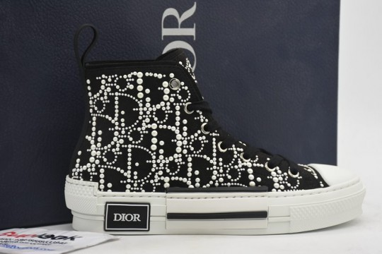 Dio-r black white bead high top sneaker