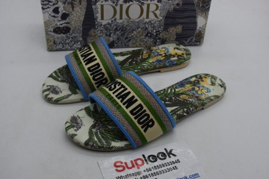 D-ior Dway cotton flip-flop multicoloured cotton embroidery