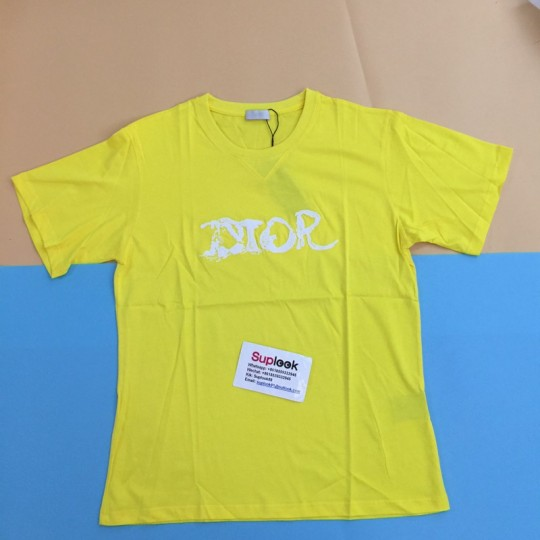 D-i-o-r logo embroidered yellow T-shirt