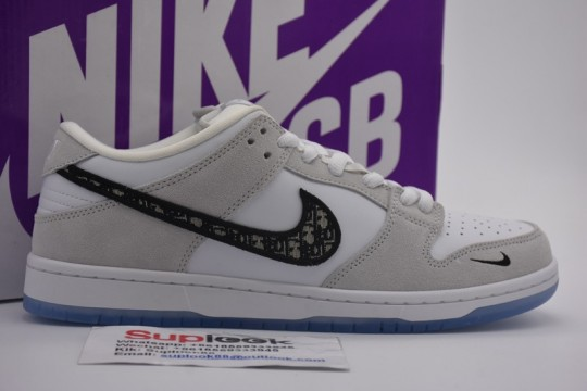 Dio-r x Nike SB Dunk Low Pro Wolf Grey White Sail Shoes BQ6817-002