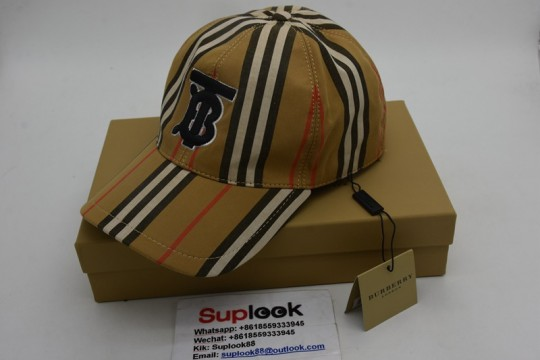 Burberr-y Baseball Cap Logo Applique Vintage Check Archive Beige in Cotton