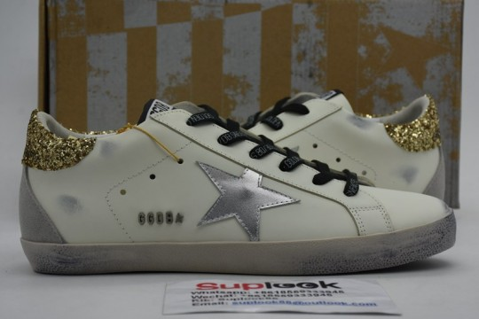 G-olden G-oose leather white Super-Star sneaker with shiny heels