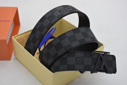 L-ouis V-uitton Belt Initiales Damier GraphiteBlackGrey in CanvasLeather with Black