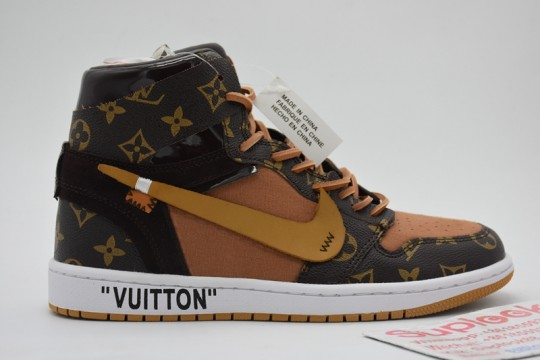 (WU$155 pls contact whatsapp +8618559333945) Off White x L-V x Air jordan 1 NEW Free Shipping World Wide