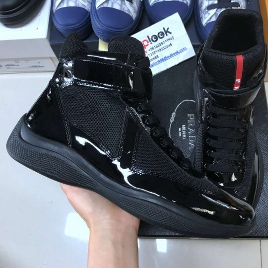 Prad-a America's Cup leather and tech fabric high-top sneakers