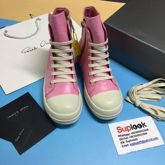 R-ic-k Ow-en pink leather high tops